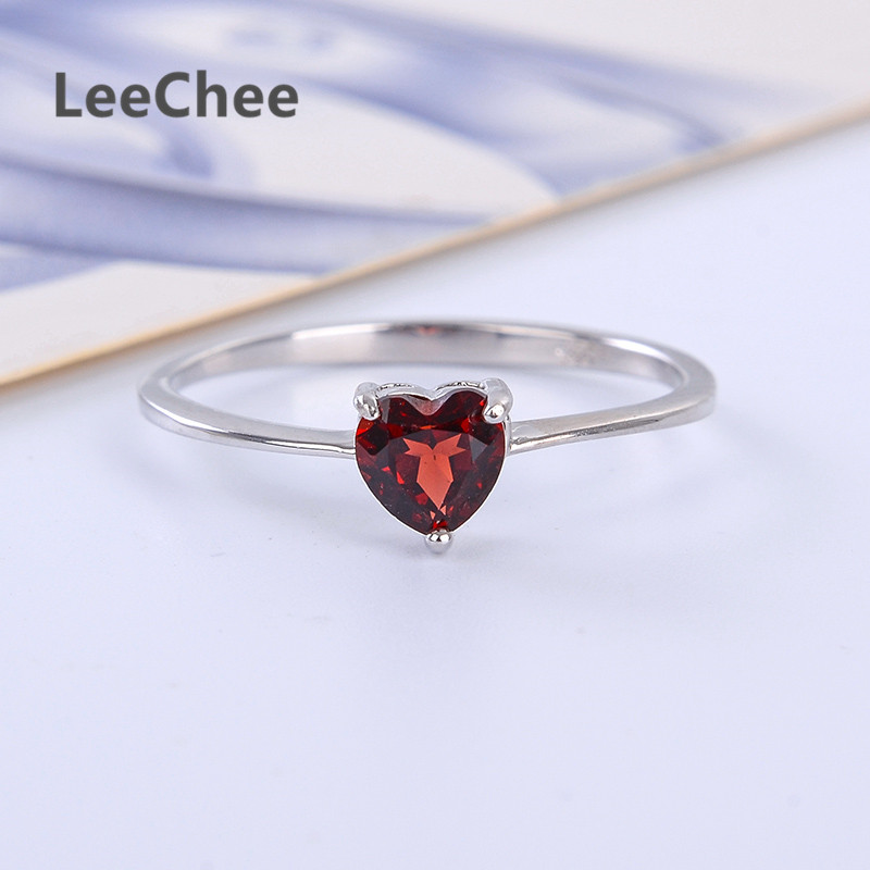 LeeChee 100% Natural Garnet Ring 925 Sterling Silver WineRed Gemstone FineJewelry for Women Gift 0.5ct Birthstone Heart-Shaped