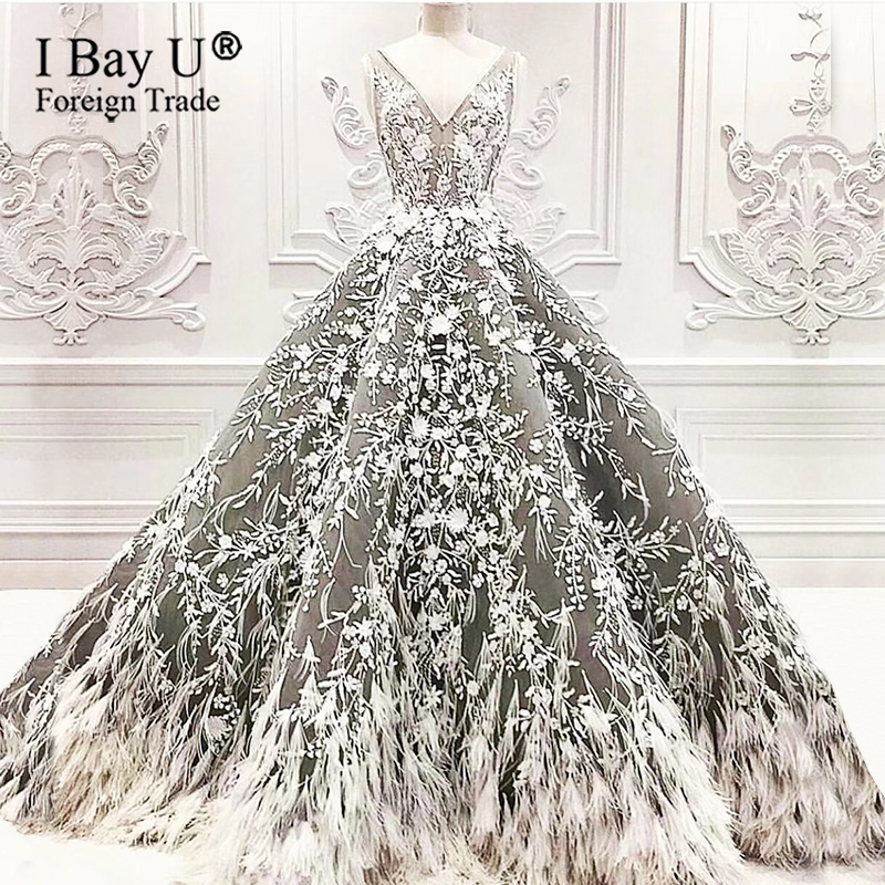 Formal Feathers Evening Dresses With Beading Vestidos Arabic Dubai Ball Gown Prom Dress Abendkleider 2020 Robe De Soiree Party