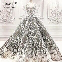 Resmi tüyleri abiye ile boncuk Vestidos arapça Dubai balo balo elbise Abendkleider 2020 Robe De Soiree parti