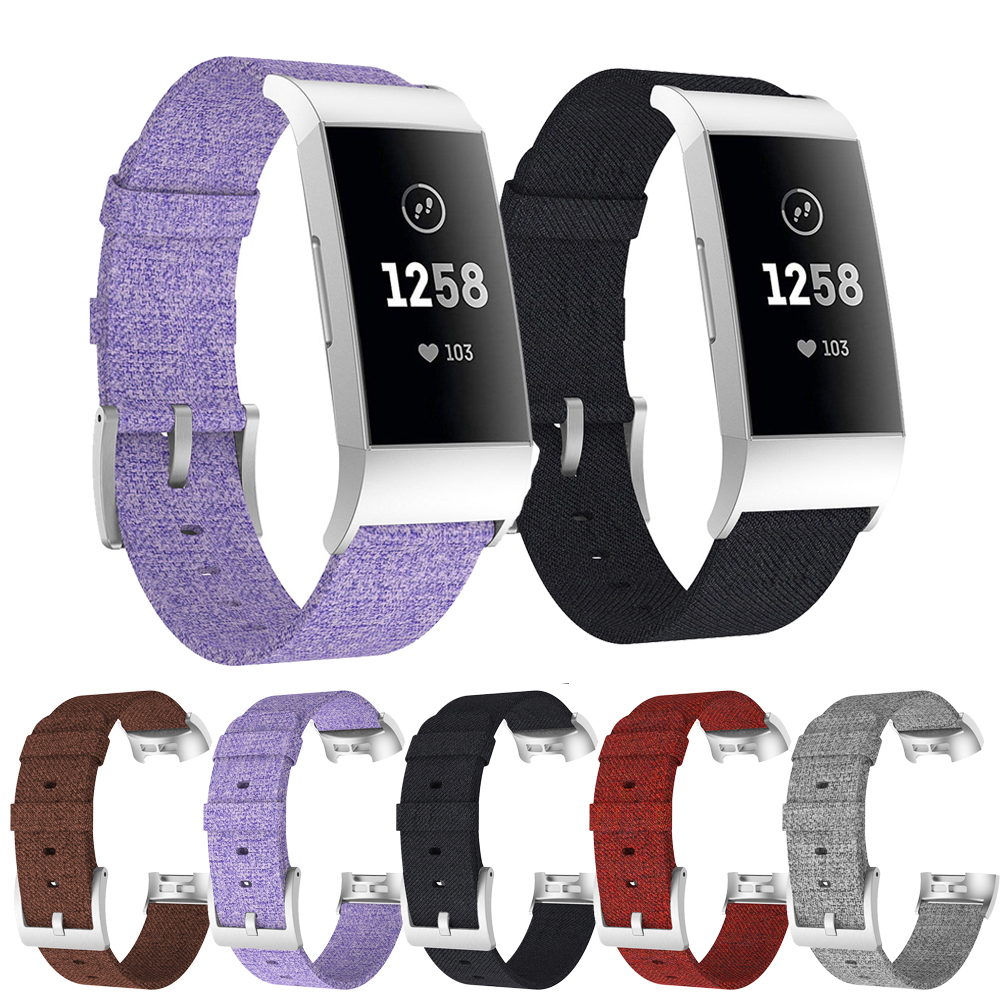 For Fitbit Charge4 New Imitation Official Woven Canvas Strap For Fitbit Charge 4 Fashion / Classic Canvas Replacement Wrist Band