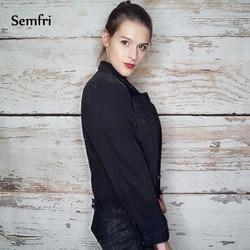 Semfri kobiet czarny kurtka dżinsowa jesień zima płaszcz czarny jeansowa kurtka Casual Harajuku Streetwear kobiety koreański ubrania 2019 4