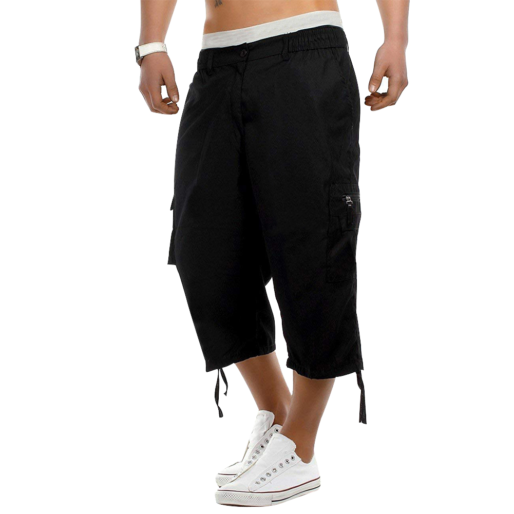 Shorts Multi Pockets Solid Casual Mid Waist Holiday Gift Loose Summer Cargo Exercise Elasticated Men Pants Half