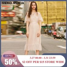 Vero Moda  Womens Vintage Flocking Polka Dots Laced Gauzy Dress