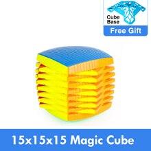 Promo MOYU 15 warstw 15x15x15 z pudełkiem czarny Stickerless Cube prędkość magiczne Puzzle 15x15 edukacyjne Cubo magico zabawki dla dzieci