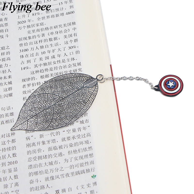 20pcs/lot Flyingbee Leave Pendant Super Hero Silver Metal Bookmarks Book Markers Page Holder For Books Stationery Gifts X0792