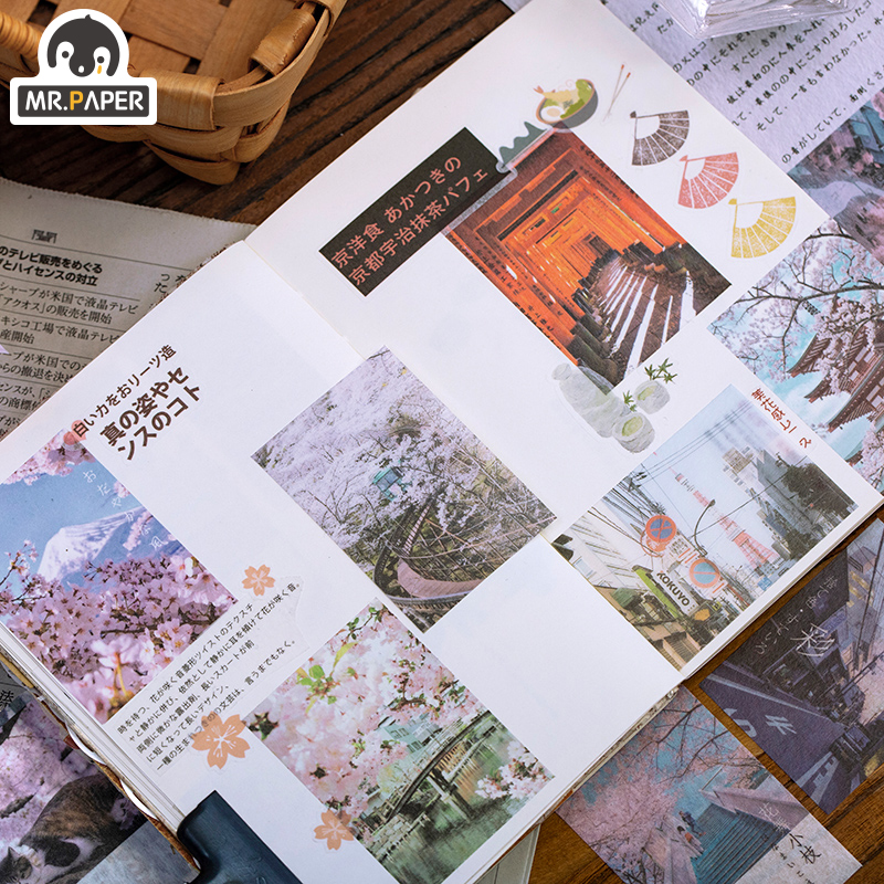 Mr.paper 60Pcs/bag City Coast Artistic Sights Japanese Sakura Scrapbooking Travelling Write Notes Down Deco Stationery Stickers