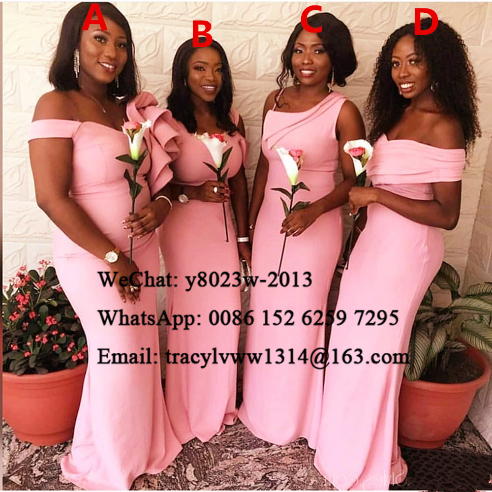 Pink Mermaid Bridesmaid Dresses 2020 Off Shoulder African Women Long Wedding Guest Dress Party Vestidos De Fiesta De Noche