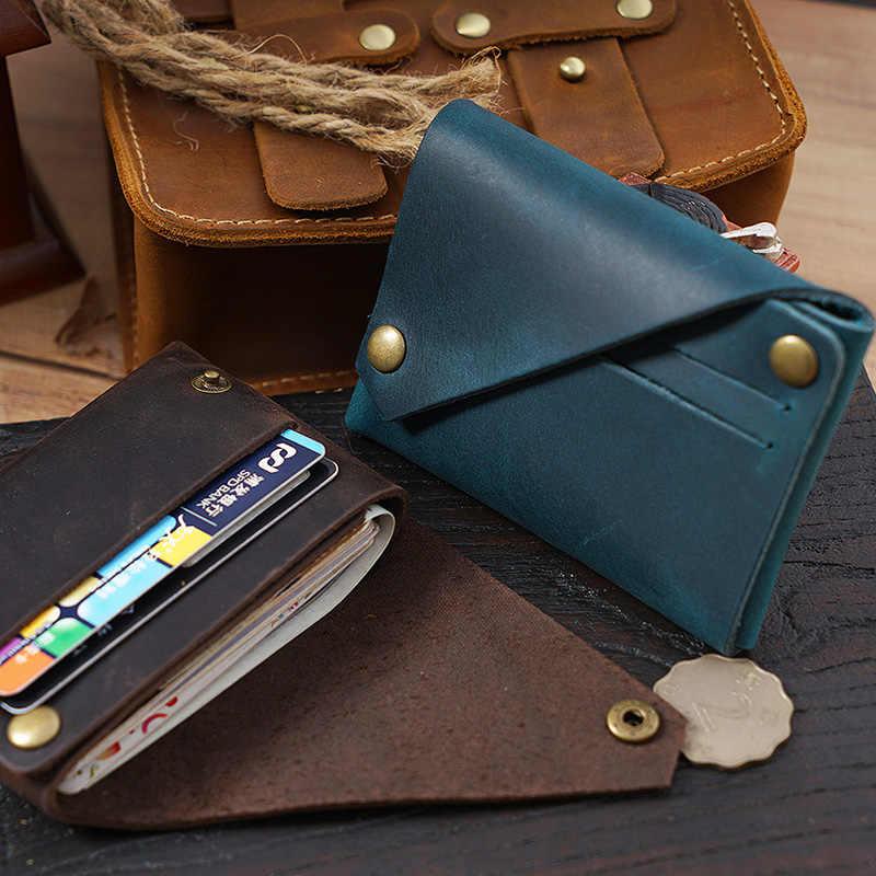 Kreative Design Kreditkarte Halter Echtes Leder Minimalistischen Brieftasche für Karten Handgemachte Kuh Leder Geldbörse Vintage Karteninhaber