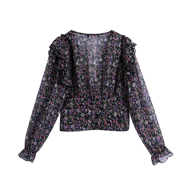 Women Sweet Agaric Lace V Neck Floral Print Short Blouse Female Long Sleeve Ruffles Shirts Chic Femme Blusas Tops 2
