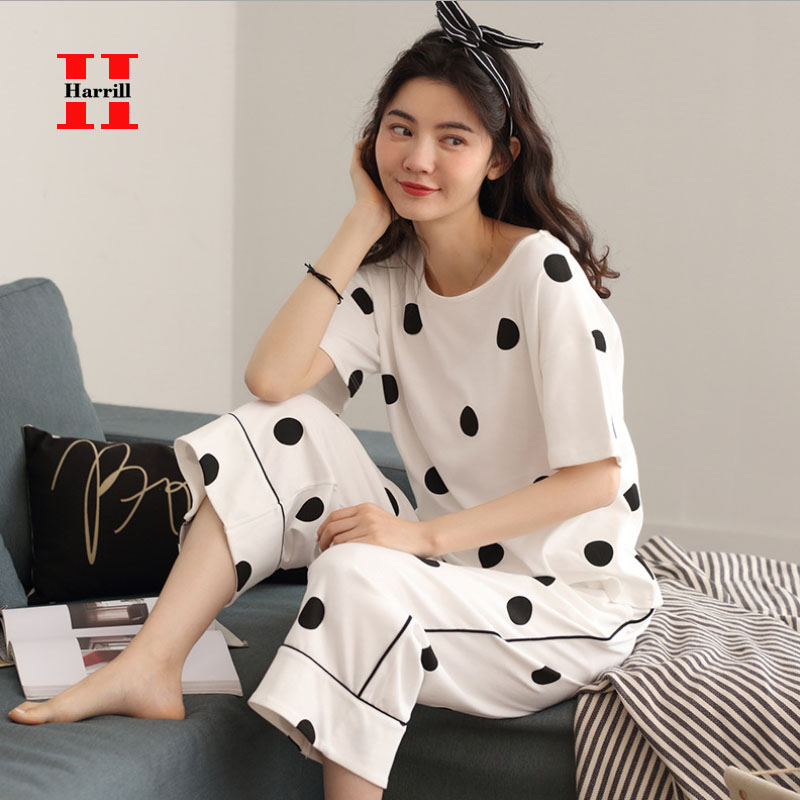 Women Pajamas Set 2 Pcs Kawaii Nightwear Women Suits Summer Loose Homewear Famale Turn-Down Collar Sleepwear Piżama Damska
