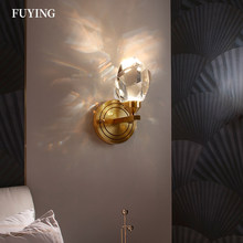 New 2021 Nordic Modern Crystal Wall Lamp Gold Living Room Bedroom TV Corridor Bathroom Wall Light Interior Home Decor Fixtures