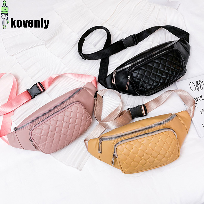 Women Waist Pack Leather Fanny Packs Female Waist Belt Bags Waterproof Zipper Mobile Phone Bag Travel Casual Chest Pack A95