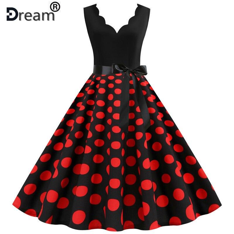 Красное винтажное женское летнее платье в горошек с v-образным вырезом рокабилли, вечерние платья длиной до колен, Vestidos, большие размеры XXXL, ...