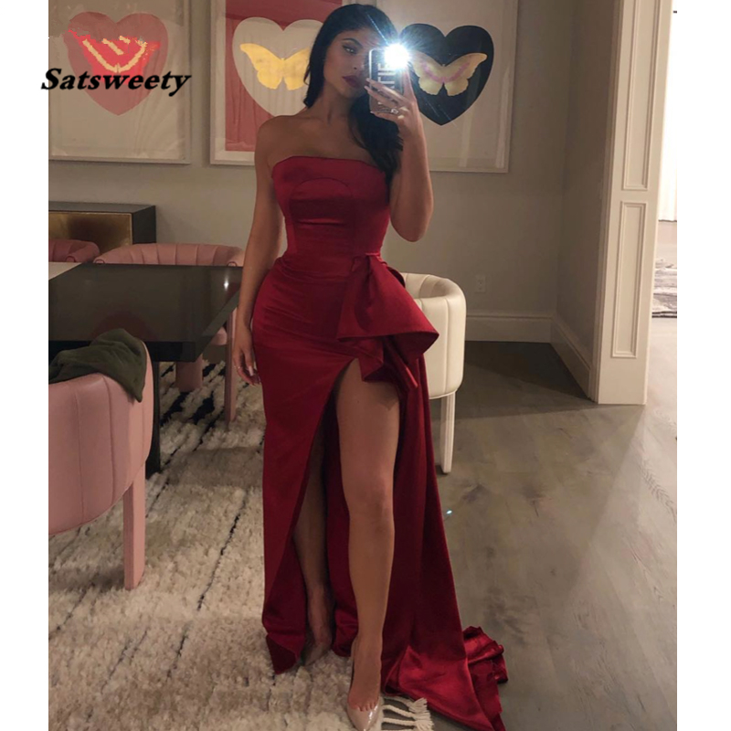 Sexy Burgundy   Prom     Dresses   2020 New Mermaid Strapless High Slit Party Maxys Satin Long   Prom   Gown Evening   Dress   robe de soiree