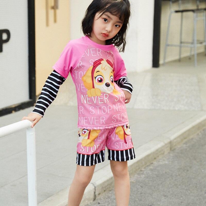 Korean-style KID'S Swimwear Long Sleeve Sun-resistant GIRL'S INS Bikini Split Type Tour Bathing Suit Girls Children Baby Swimmin
