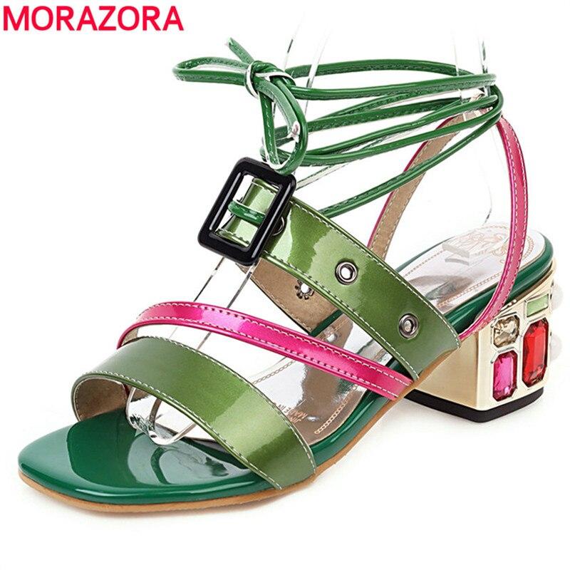 MORAZORA 2020 sandalias de moda para mujer, sandalias de gladiador de tacón alto cuadrado con diamantes de imitación, zapatos de verano de moda para mujer, zapatos de fiesta informales KYSZDL gran oferta de alta calidad Natural granate pulsera moda mujer cristal pulsera joyería regalos