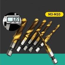 Taps Drill-Bits Screw Woodworking-Tools Spiral Shank-Thread Hex HSS M4 M8 M10 M3 M5 M6