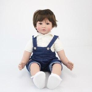 "Image 4 - 60cm Reborn Toddler Boy Doll Silicone Vinyl Limbs 24"" Cute Baby Doll Cloth Body Birthday Gift Girls Play House Boneca"