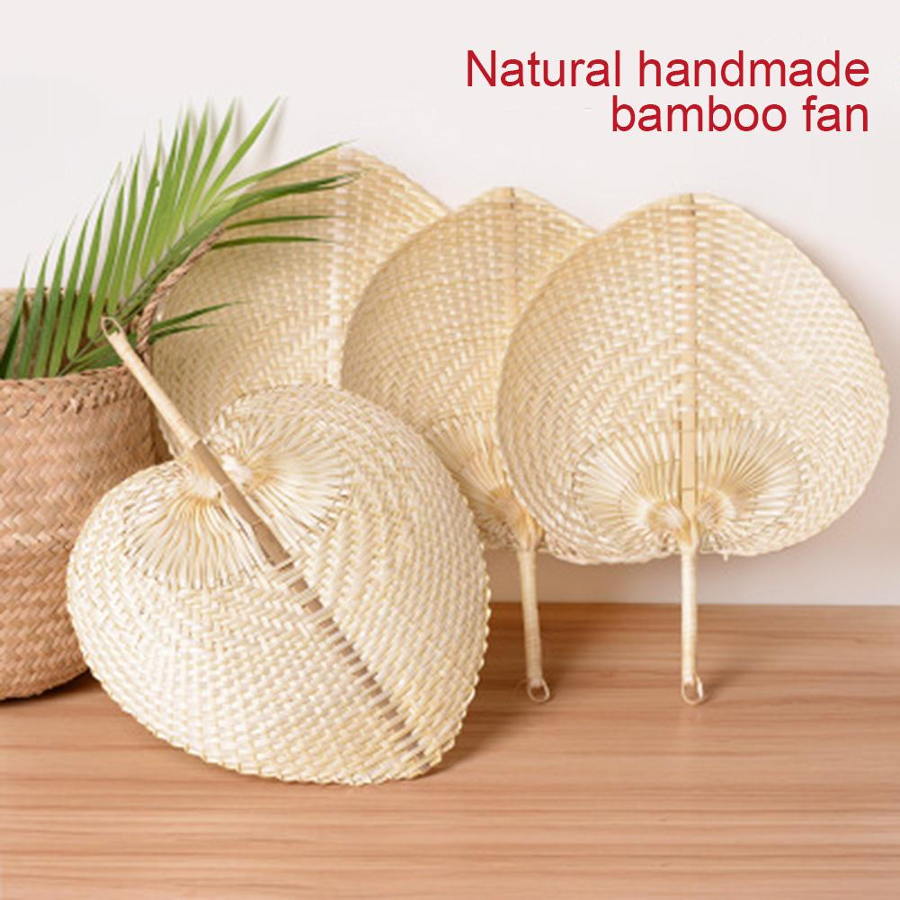 DIY Handmade Straw Fan Wedding Decoration With Hand Gift Handheld Mini Wood Fan Portable Gift Party Wedding Supplies