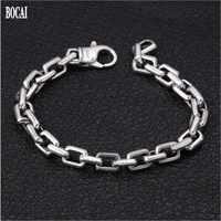 New 100% real solid S925 pure Silver Men bracelet Creative Fashionable Men's Pop Box Chain Thick Maniac Silver bracelet for Men