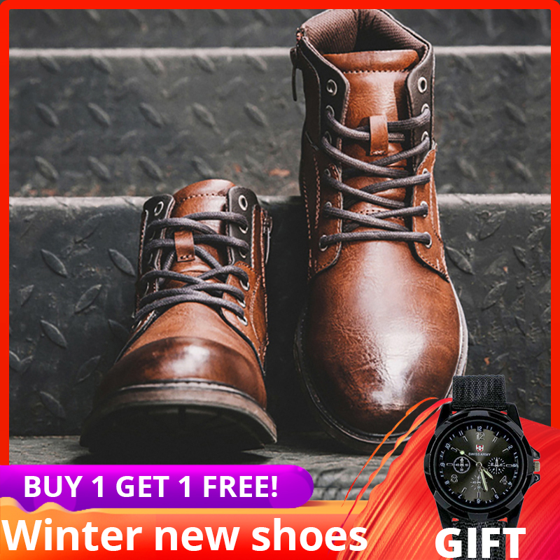 plus size 39-48 men boots autumn Vintage ankle high top Casual High Quality leather winter shoes #AF3998
