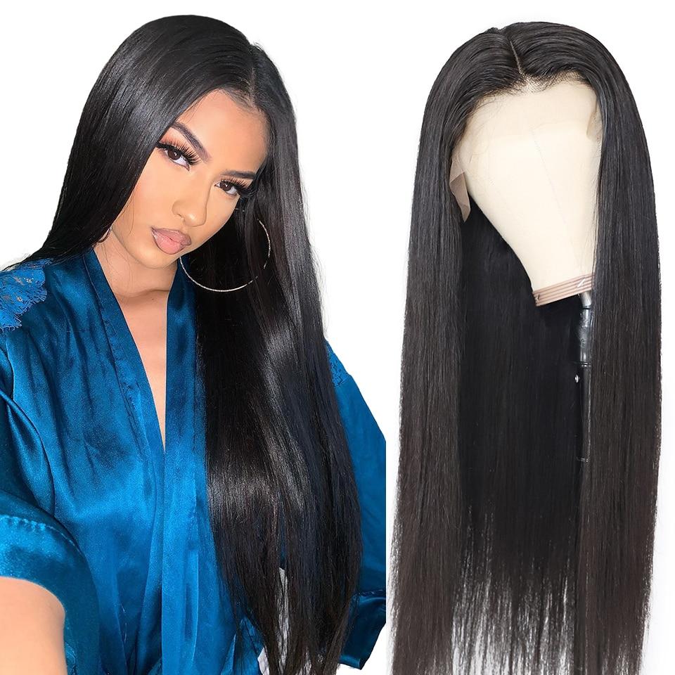Peluca de cabello humano liso brasileño para mujer, 28, 30, 40 pulgadas, 13x4, pelucas de cabello humano con encaje Frontal sin pegamento, Remy Natural