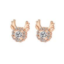 Shellhard Statement Christmas Earrings For Women Trendy Tiny Rhinestone Stud Bohemian Coral Deer Cubic Zirconia Earring