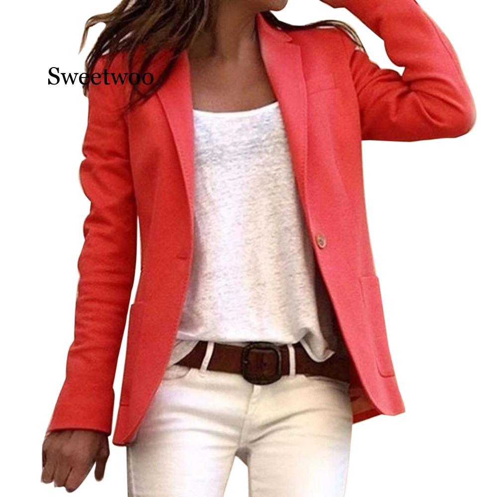 Candy Colors Slim Office Blazer 2020 Fahion Long Sleeve Autumn Casual Thin Blazers Women Suit Jackets Coats