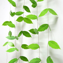 4M Green Leaves Hanging Banners PVC Leaf Shaped Bunting Garland Streamers for Summer Wedding Party Backdrop Decoration Supplies