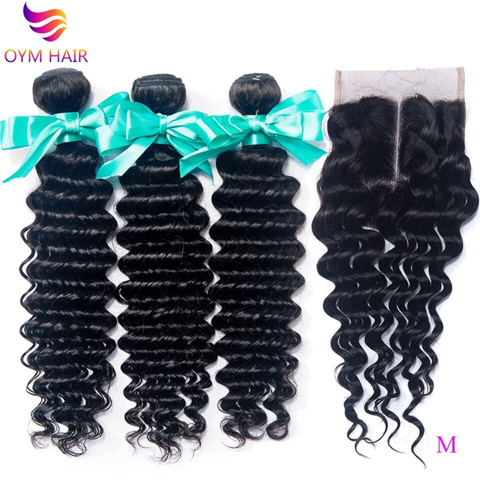 OYM HAIR Deep Wave Hair Bundles With Closure Non-Remy Peruvian Human Hair Bundles With 4x4 5x5 6x6 Lace Closure Hair Extension