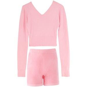 Image 3 - 新スタイルの女性バレエダンススーツ 2 個セーターショートパンツとトップス秋冬暖かい大人ニットダンスの衣装バレエ