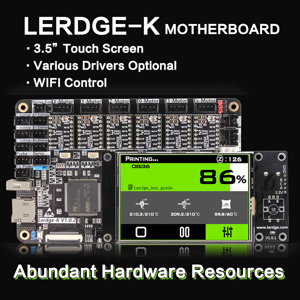 """3DSWAY 3D Printer Motherboard LERDGE-K ARM 32Bit Controller Board  With 3.5"""" Touch Screen DIY Parts WIFI Control Mainboard"""