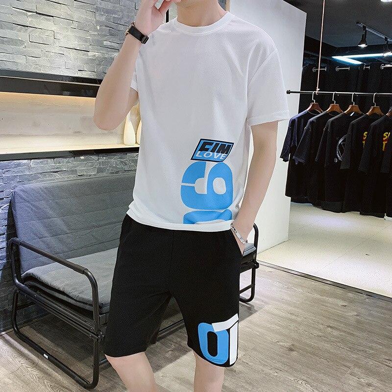 Suit Male Trend Loose Teenagers Hip Hop Leisure Suit Sportswear Two-piece Set Male Short Sleeve