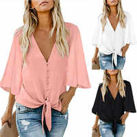Plus Size Chiffon Long Sleeve Shirt Women Deep V-Neck Loose Shirt Tops Women Casual Blouse Fashion Top