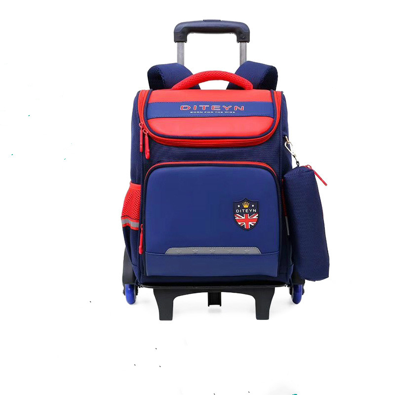Child Trolley For Backpack School Bag 2//6 Wheels Expandable Rod Expandable Cart