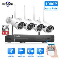Hiseeu 8CH Nirkabel Sistem CCTV 1080P 1TB 4 Pcs 2MP NVR IP IR-CUT Outdoor CCTV Kamera Keamanan IP sistem Video Surveillance Kit