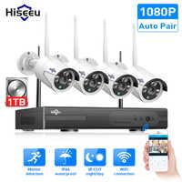 Hiseeu 8CH bezprzewodowy System cctv 1080P 1TB 4 sztuk 2MP NVR IP IR-CUT na świeżym powietrzu kamera telewizji przemysłowej zabezpieczenia IP System wideo zestaw do nadzorowania
