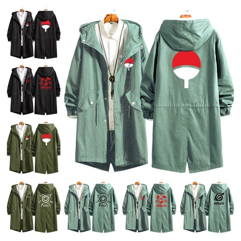New Anime Naruto Uchiha Itachi Cosplay Costumes Konoha Sharingan Cotton Trench Cardigan Hoodies Sweatshirt Hooded Jackets Coat