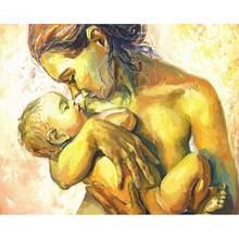 Картина по номерам на холсте мама и сын 60 х75 см
