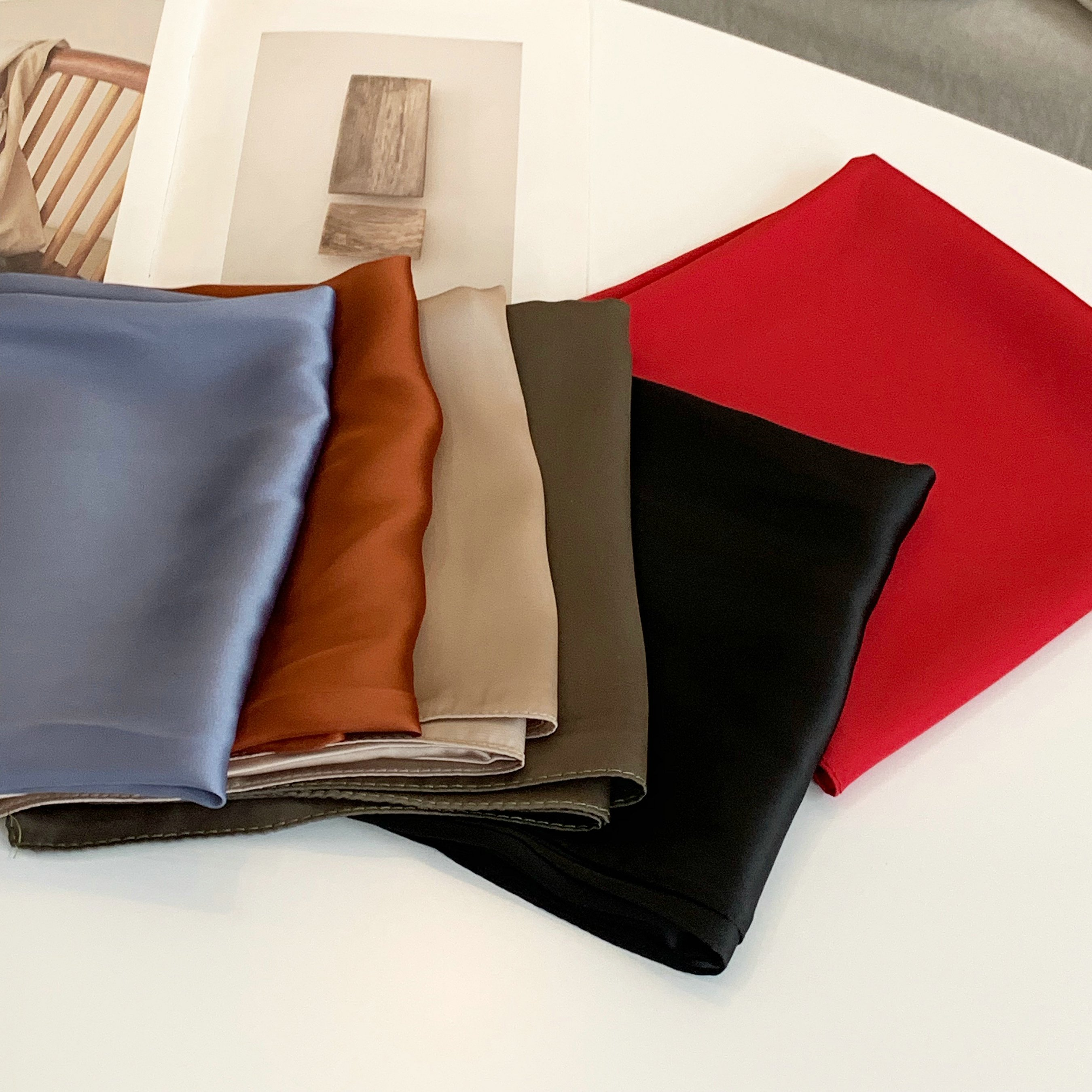 70*70 Printing Small Square Scarf Small Silk Like Scarf Women's Thin Scarf Pure Color Fashion Scarf