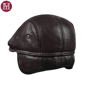Image 3 - Новинка 2019, осенне зимние мужские шапки, оригинальная модная брендовая Кепка в западном стиле, Кепка из воловьей кожи, шапка для отца