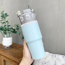 Smart Travel Coffee Mug 600 & 890ml Vacuum Cup Stainless Steel Bottle Vacuum Flask Thermo Cups With Lid Straw