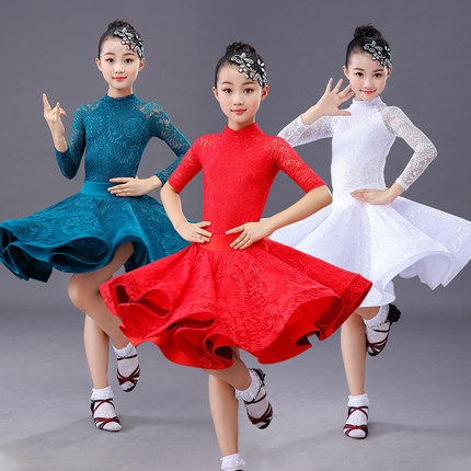 Girls Long Sleeve Latin Dance Skirt Ballroom Salsa Tango Skirts Kid Child Lace Latin Dance Split Dress With Leotard And Skirt