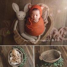 Accesorios de fotografía de recién nacido Binaural ovalado bañera foto Prop cama Vintage Natural de madera maciza silla de bebé accesorios de fotografía