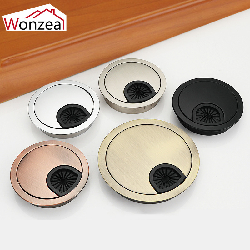 Wonzeal Zinc Alloy Round Table Wire Hole Covers Outlet Port Computer PC Desk Cable Grommet Line Holder 50mm/53mm/60mm/80mm
