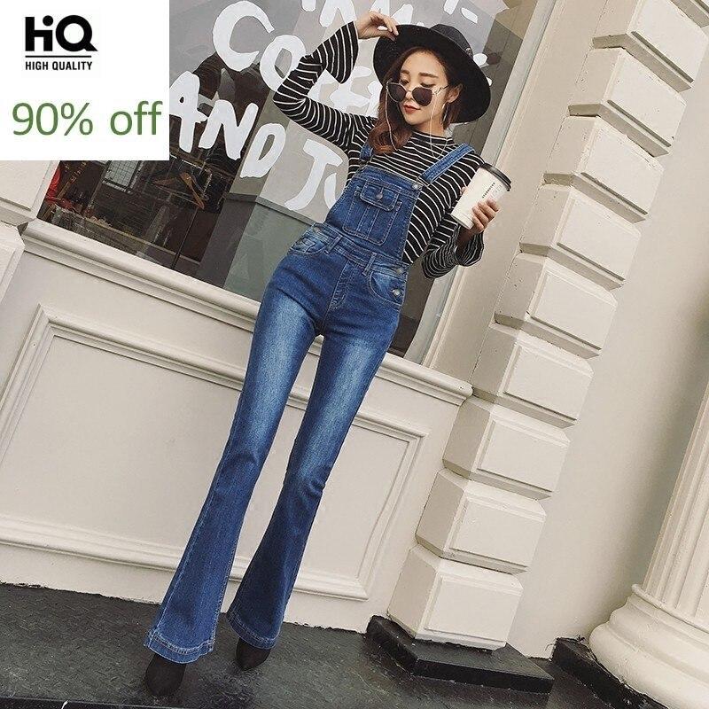 Spring Autumn Slim High Waist Washed Denim Full Length Pants Fashion Streetwear Vintage Female Sleeveless Suspender Jumpsuits