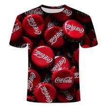 2021 sommer neue stil herrenmode casual 3D druck kühlen cola kann bier flasche jubel T-shirt große größe großhandel