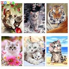 ZOOYA 5D DIY เย็บปักถักร้อยเพชรการ์ตูนแมวสัตว์ภาพวาดเพชรแมว CROSS Stitch Square Rhinestone Mosaic ตกแต่ง BK1354