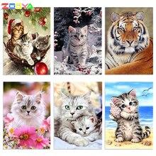 Zooya 5d diy diamante bordado gato dos desenhos animados animais pintura diamante gato ponto cruz quadrado strass mosaico decoração bk1354
