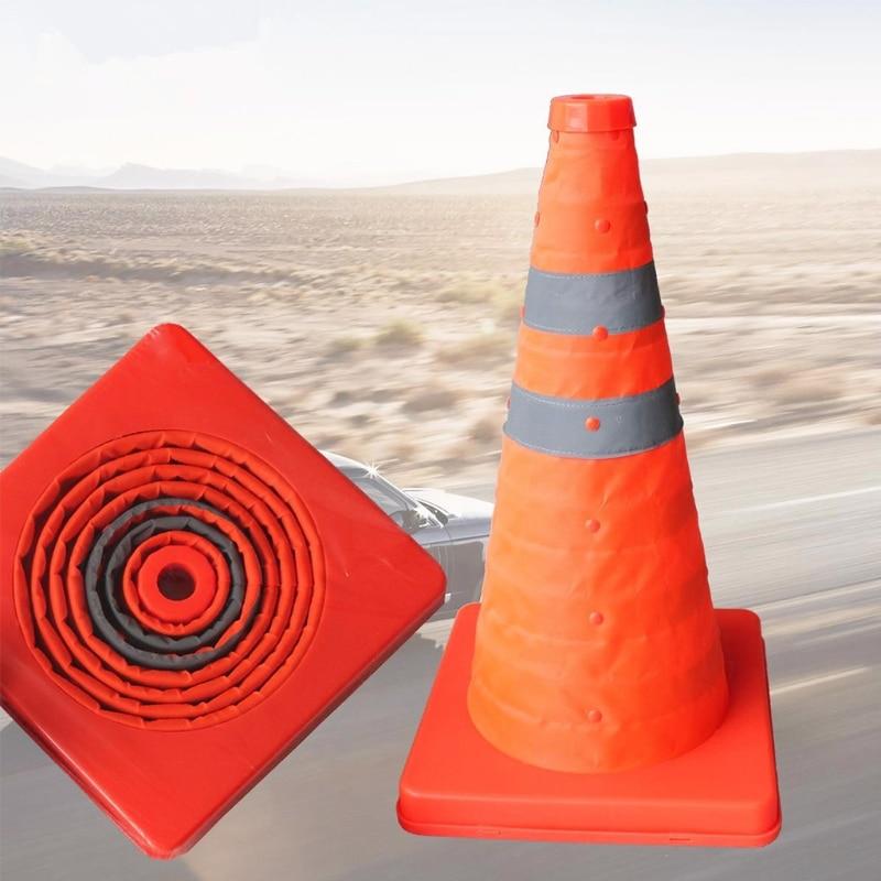 42cm Folding Road Safety Warning Sign Traffic Cone Orange Reflective Tape  20CB
